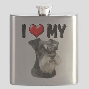 I Love My Miniature Schnauzer Flask