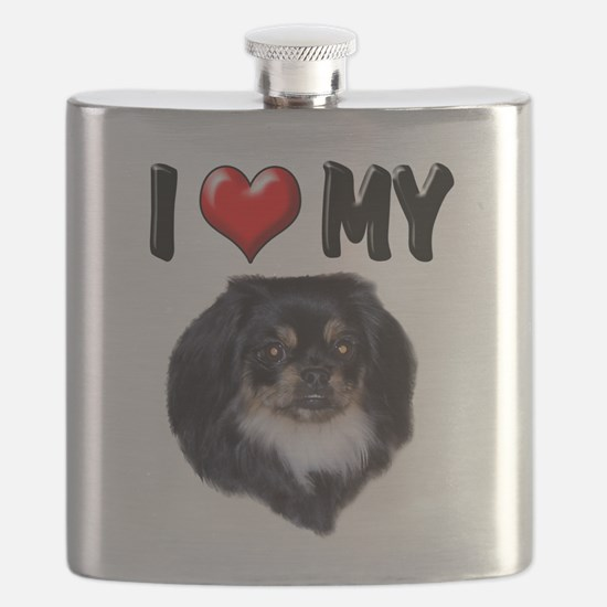 I Love My Pekingnese Black.png Flask