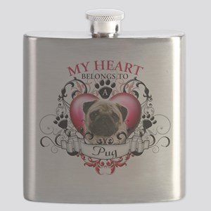 My Heart Belongs to a Pug Flask