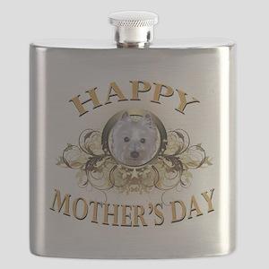 Happy Mothers Day Westie Flask