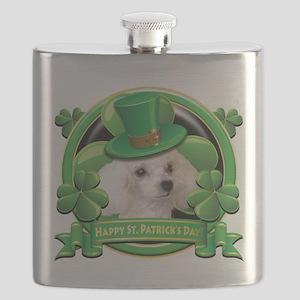 Happy St Patricks Day Poodle Flask