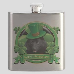 Happy St Patricks Day Schipperke Flask