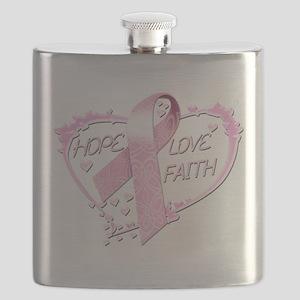 Hope Love Faith Heart (pink) Flask