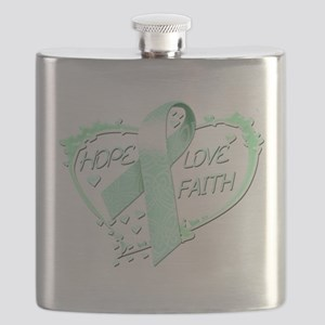 Hope Love Faith Heart (teal) Flask