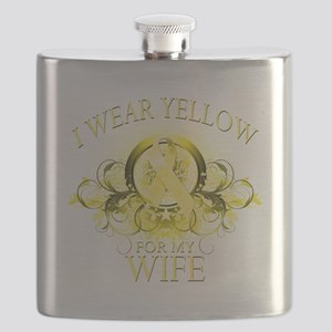 I Wear Yellow for my Wife (floral) Flask