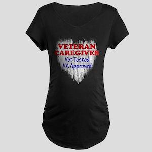 Vet Caregiver Heart Maternity Dark T-Shirt