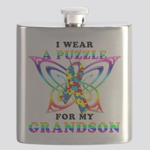 I Wear A Puzzle for my Grandson Flask