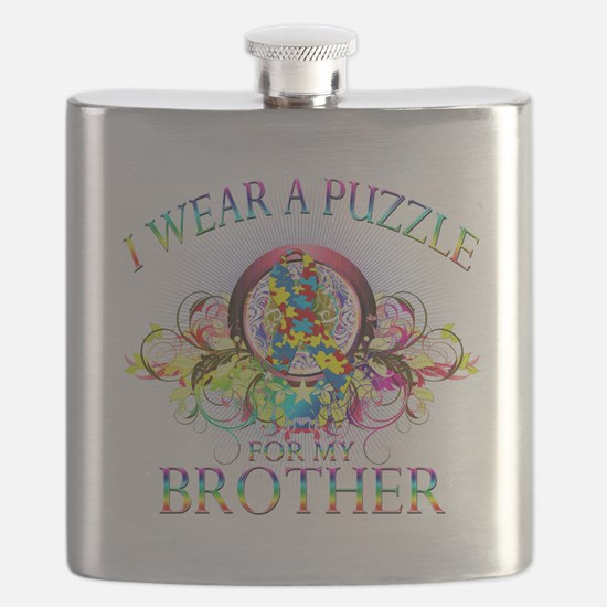 I Wear A Puzzle for my Brother (floral).png Flask
