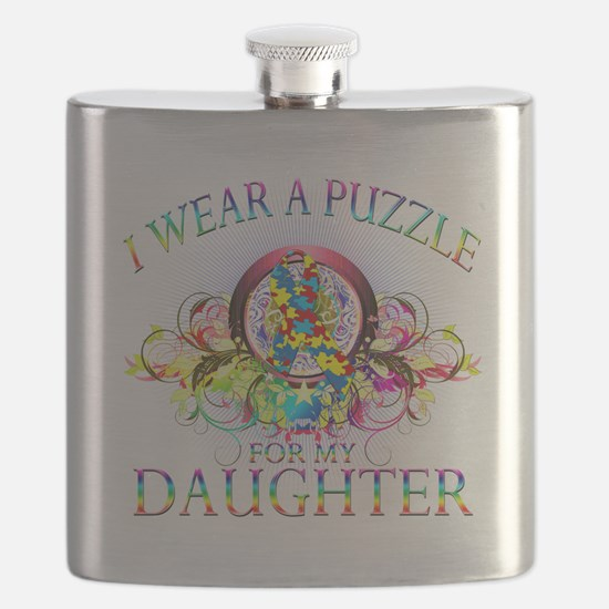 I Wear A Puzzle for my Daughter (floral).png Flask
