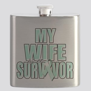 My Wife is a Survivor (teal) Flask