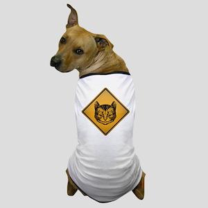 Cheshire Cat Warning Sign Dog T-Shirt