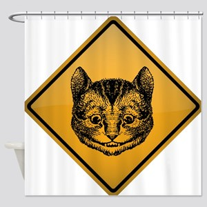 Cheshire Cat Warning Sign Shower Curtain