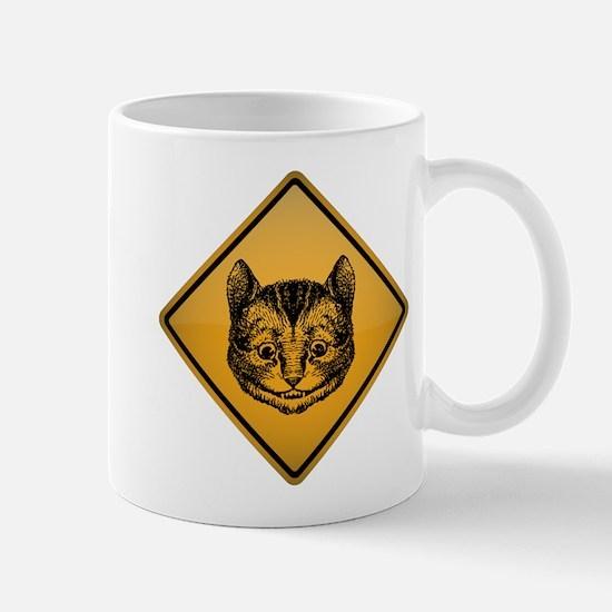 Cheshire Cat Warning Sign Mug