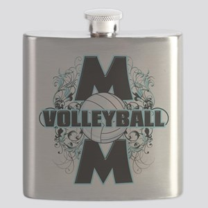 Volleyball Mom (cross) Flask