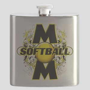 Softball Mom (cross) copy Flask