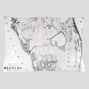 Vintage Map of Southern Florida (1856) Pillow Case