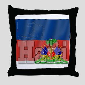 Silky Flag of Haiti (French) Throw Pillow