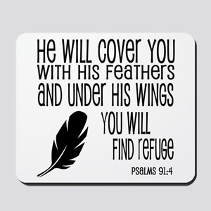 Under His Wings Verse Mousepad
