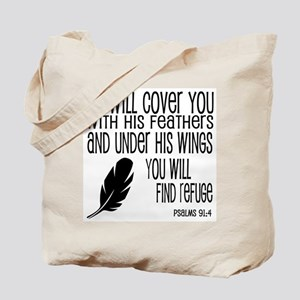 Under His Wings Verse Tote Bag