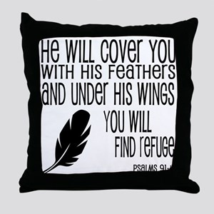 Under His Wings Verse Throw Pillow