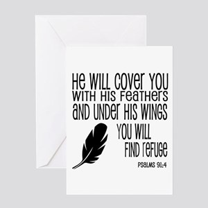 Under His Wings Verse Greeting Card