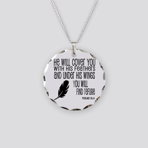 Under His Wings Verse Necklace Circle Charm