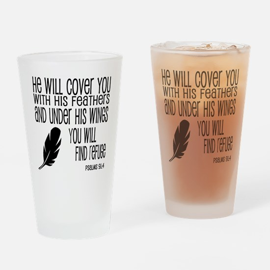Under His Wings Verse Drinking Glass