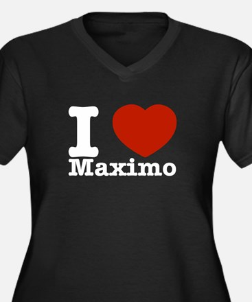 I Love Maximo Women's Plus Size V-Neck Dark T-Shir