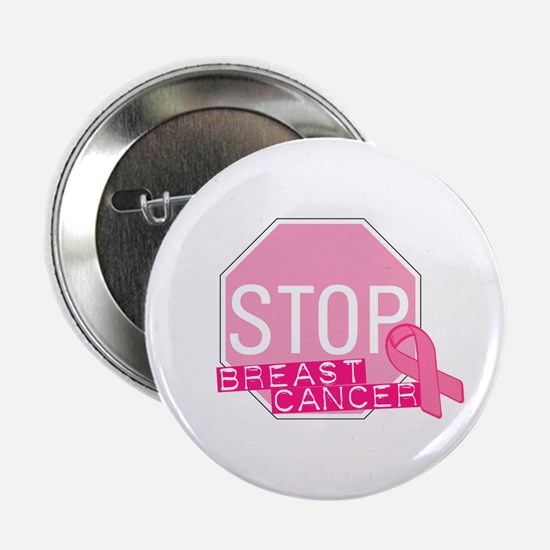 "STOP Breast Cancer Pink Ribbon Sign 2.25"" But"
