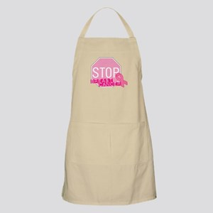 STOP Breast Cancer Pink Ribbon Sign Apron