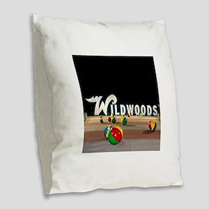 Wildwoods Sign Wildwood New Je Burlap Throw Pillow