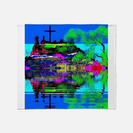 Christmas Christian Cross Throw Blanket