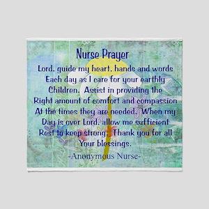 Nurse prayer blanket BLUE Throw Blanket