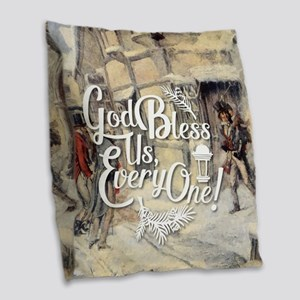 God Bless Us Every One! Burlap Throw Pillow