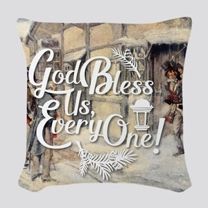 God Bless Us Every One! Woven Throw Pillow