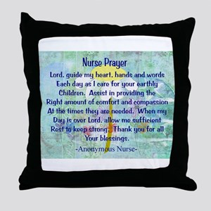 Nurse prayer blanket BLUE Throw Pillow