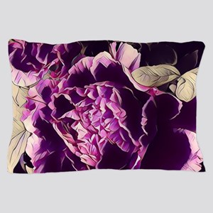 chic purple floral peony Pillow Case