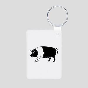 Pig Aluminum Photo Keychain