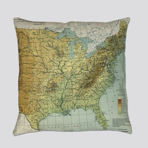 Vintage United States Physical Fea Everyday Pillow