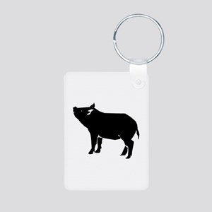 Pig Aluminum Photo Keychain
