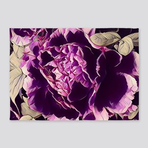 chic purple floral peony 5'x7'Area Rug