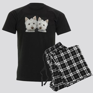Two Cute West Highland White Dogs Men's Dark Pajam