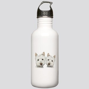 Two Cute West Highland White Dogs Stainless Water