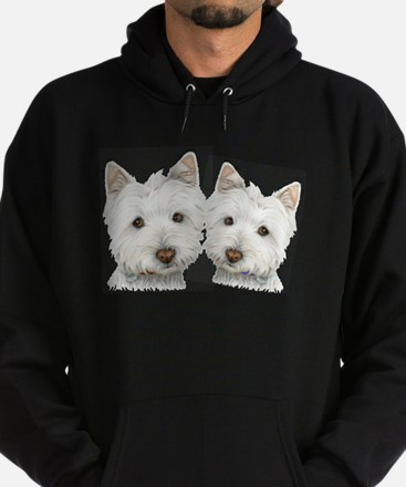 Two Cute West Highland White Dogs Hoodie (dark)
