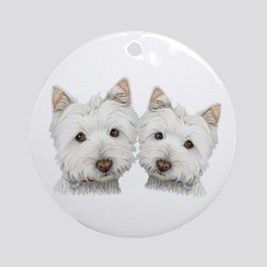 Two Cute West Highland White Dogs Ornament (Round)