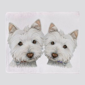 Two Cute West Highland White Dogs Throw Blanket