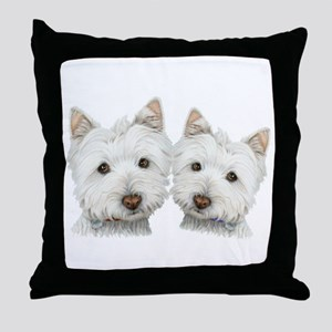 Two Cute West Highland White Dogs Throw Pillow