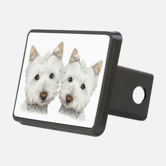 Two Cute West Highland White Dogs Hitch Cover