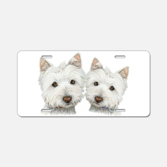 Two Cute West Highland White Dogs Aluminum License