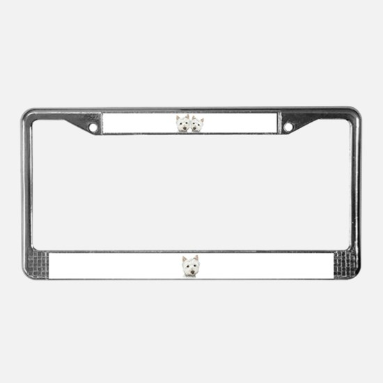 Two Cute West Highland White Dogs License Plate Fr